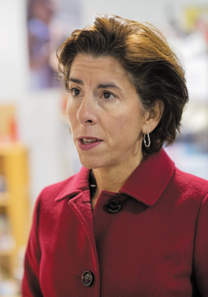 """GOV. GINA M. RAIMONDO'S Gina M. Raimondo's proposed fiscal 2021 budget includes a $64 million """"green bond,"""" $35 million of which would go toward projects at state beaches, parks and campgrounds./ PBN FILE PHOTO/MICHAEL SALERNOPBN PHOTO/MICHAEL SALERNO"""