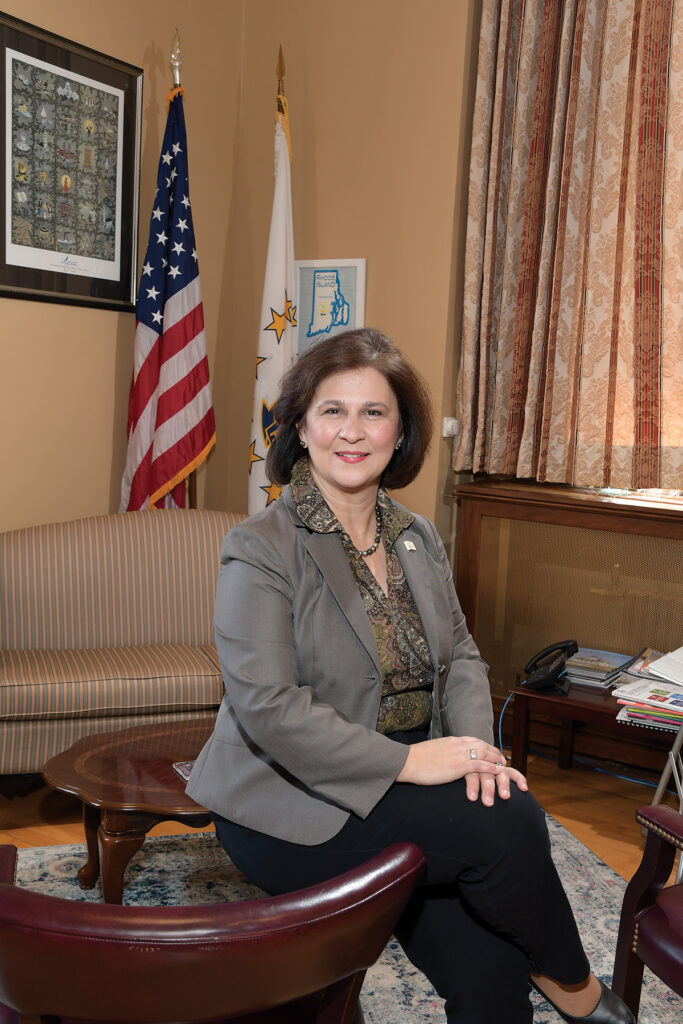 Secretary of State Nellie M. Gorbea became the first Hispanic elected to statewide office in New England when she was sworn in on Jan. 6, 2015. Reelected for a second term in 2018, she's worked to modernize the state's elections infrastructure and make it easier for businesses to navigate state government. / PBN PHOTO/MIKE SKORSKI