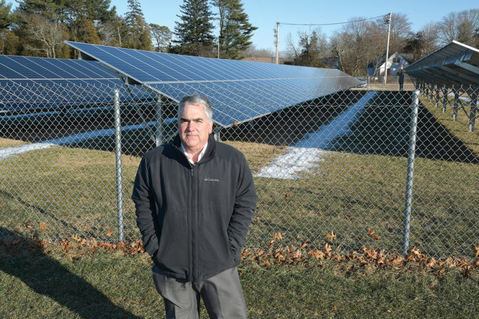 CATCHING SOME RAYS: Vito Buonomano, owner of Northeast Solar & Wind Power LLC, says most of the solar-power projects his company has been involved with have been on farms, including this installation at the Washington County Turf Farms in South Kingstown. 
