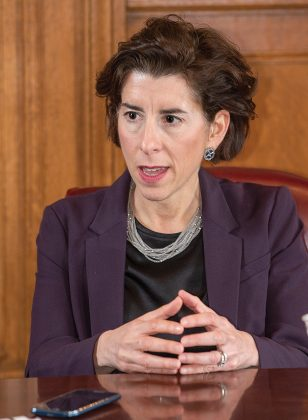 GOV. GINA M. RAIMONDO has proposed an incentive program for communities to reduce the tangible property tax./ PBN FILE PHOTO DAVE HANSEN.