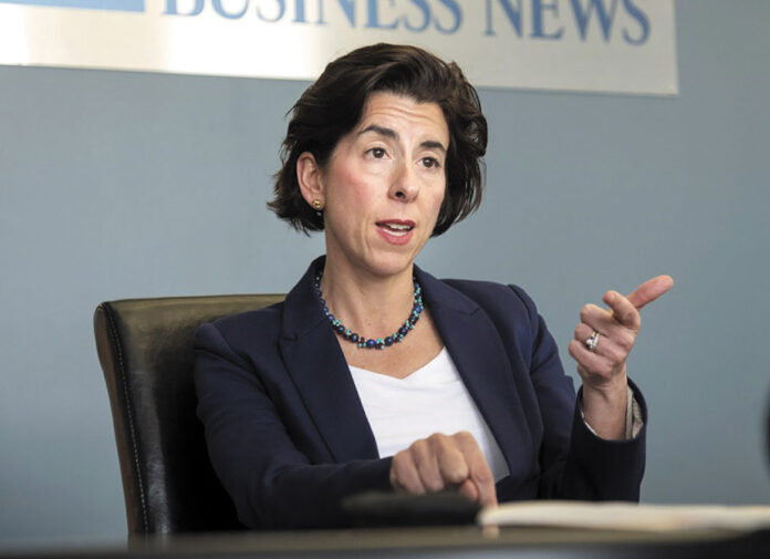 GINA M. RAIMONDO signed an executive order Friday that commits the state to a goal of sourcing electricity from 100% renewable sources by 2030. / PBN FILE PHOTO/