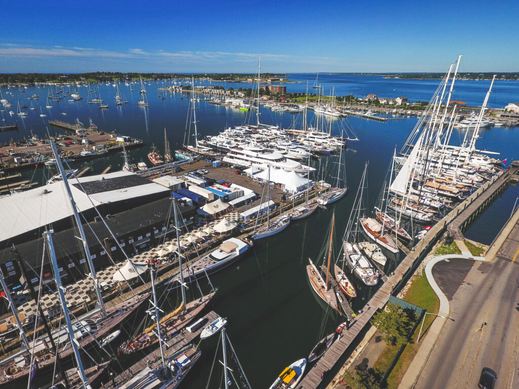 AMERICAN INFRASTRUCTURE FUNDS is exploring the sale of Safe Harbor Marinas LLC, which owns and operates eight marinas in Rhode Island including the Newport Shipyard, pictured above. / COURTESY SAFE HARBOR MARINAS LLC