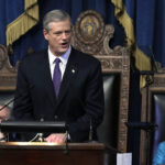 MASS. GOV. Charlie Baker introduced a $44.6 billion state budget proposal Wednesday. / AP FILE PHOTO/STEVEN SENNE