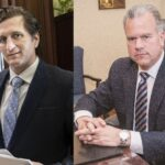 HOUSE MINORITY LEADER Blake A. Filippi, left, filed a lawsuit Thursday against House Speaker Nicolas Mattiello, accusing him of breaking state law by ordering an audit of the Rhode Island Convention Center. / PBN FILE PHOTOS/MICHAEL SALERNO/TRACY JENKINS