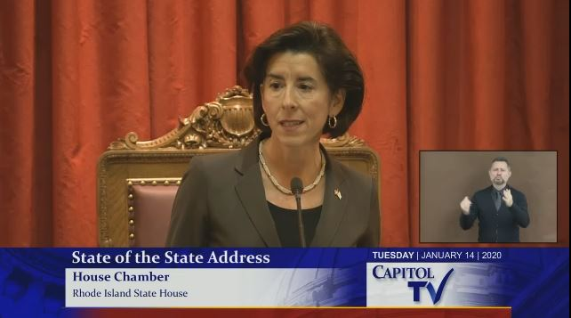 GOV. GINA M. RAIMONDO addressed a statewide audience in her sixth State of the State Address Tuesday. / COURTESY CAPITOL TVGOV. GINA M. RAIMONDO addressed a statewide audience in her sixth State of the State Address Tuesday. / COURTESY CAPITOL TV