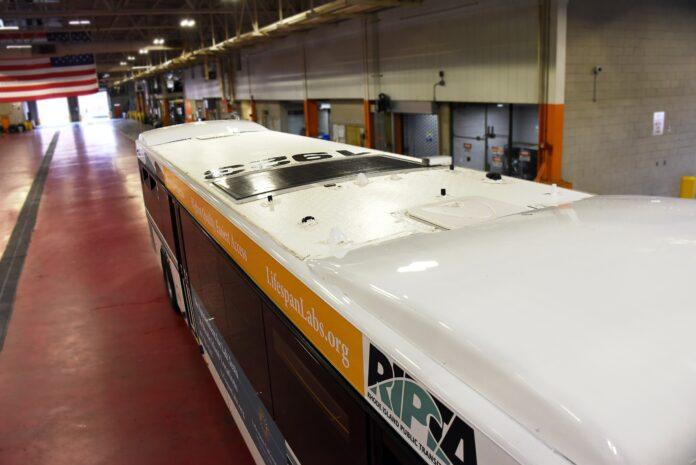 THE R.I. PUBLIC Transit Authority has added solar panels to 33 of its buses. / COURTESY R.I. PUBLIC TRANSIT AUTHORITY
