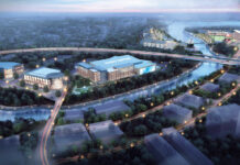 MIXED-USE: Pictured in the rendering are an indoor sports center, a 200-room hotel and a conference center at the site of the former Apex building in Pawtucket as part of a $400 million mixed-use development by Fortuitous Partners. The project includes a 7,500-seat soccer stadium, which can be seen at the top right. / COURTESY NEW HARBOR GROUP