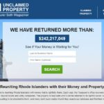 A SCREENSHOT of the Rhode Island unclaimed property website, where Rhode Islanders can search for unclaimed property in their name.
