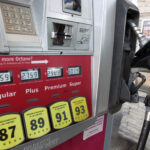 THE AVERAGE price of regular gas in Rhode Island declined 4 cents week to week to $2.37 per gallon Monday. / AP FILE PHOTO/JOHN RAOUX