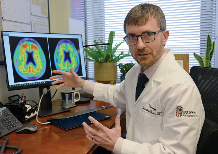 SILENT ONSET: Dr. Jonathan Drake, associate director of the Alzheimer's Disease and Memory Disorders Center at Rhode Island Hospital, says Alzheimer's develops decades before a person shows the first symptoms. / PBN PHOTO/ELIZABETH GRAHAM