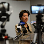 GOV. GINA M. RAIMONDO has declared a state of emergency in Rhode Island in reaction to the spread of the coronavirus. Above, Raimondo addresses the virus's impact on the state last week. / PBN FILE PHOTO/ELIZABETH GRAHAM