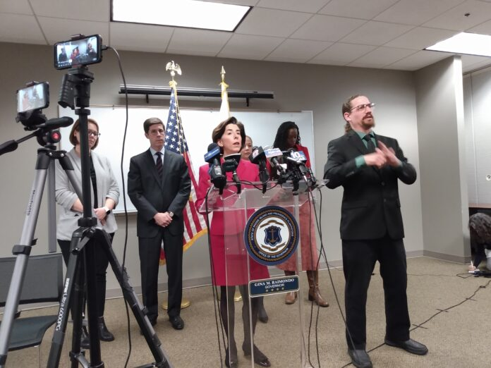 GOV. GINA M. RAIMONDO gives an update on the spread of the coronavirus in Rhode Island at a recent news conference. / PBN FILE PHOTO/ELIZABETH GRAHAM