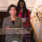 GOV. GINA M. RAIMONDO on Friday praised the continued cooperation of Rhode Island residents in efforts to slow the spread of COVID-19. / COURTESY OF GOVERNOR'S OFFICE