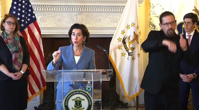 THE NUMBER of cases of COVID-19 in the state totaled 124 as of Tuesday afternoon, according to Gov. Gina M. Raimondo. / COURTESY OFFICE OF THE GOVERNOR