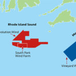 PERMITTING DELAYS: The Revolution Wind, South Fork Wind Farm and Vineyard Wind offshore wind projects in waters off the coast of southern New England are all currently in various stages of the permitting process. / SOURCE: R.I. DEPARTMENT OF ENVIRONMENTAL MANAGEMENT / PBN GRAPHIC/ANNE EWING