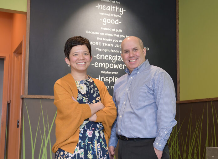 HEALTHY ALTERNATIVE: Owners John Pisaturo and his wife, Aileen, are excited to open the first Saladworks franchise in Rhode Island, located at 75 Fountain St. in Providence. / PBN PHOTO/MIKE SKORSKI