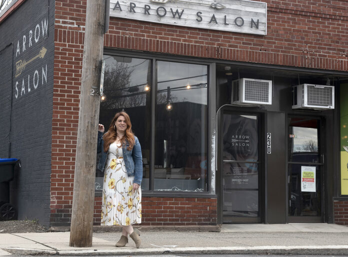 DENIED: Elyse Farnsworth, owner of Arrow Salon in Providence, tried to apply through Bank of America for a Paycheck Protection Program loan but was turned down because she did not have a line of credit with the bank. / PBN PHOTO/MICHAEL SALERNO