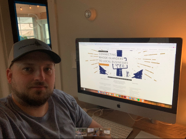 JUSTIN GONTAREK, co-founder of Oceanside Graphics RI LLC, designed the Gift it Forward website in conjunction with the R.O. Office of the Lt. Governor to help small businesses during the COVID-19 pandemic. / COURTESY JUSTIN GONTAREK