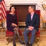 GOV. GINA M. RAIMONDO and her husband, Andy Moffit, released a prerecorded address on Easter Sunday that took the place of her daily coronavirus briefing. / COURTESY CAPITAL TV