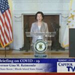 GOV. GINA M. RAIMONDO says it's too early to tell whether the two-day decline in the number of new COVID-19 cases is a lasting trend. / COURTESY R.I. CAPITOL TV