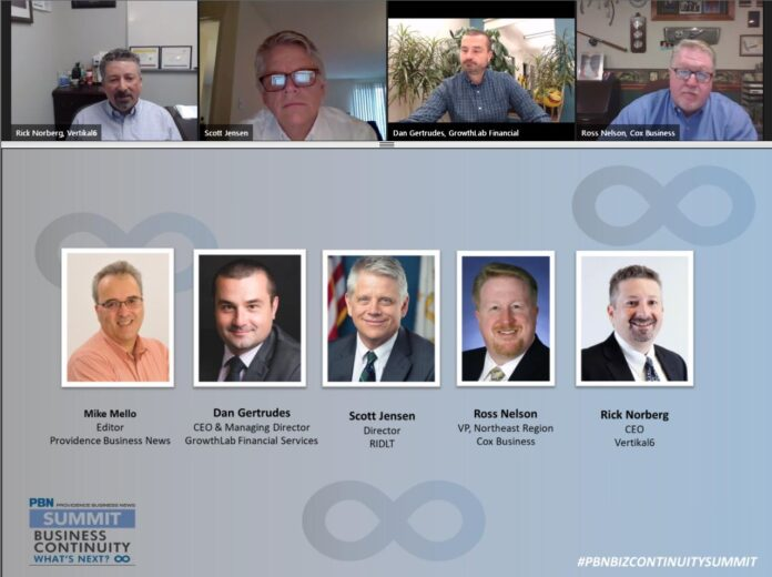 PANELISTS participating in Providence Business News' virtual summit on business continuity answer questions from an online audience on Thursday.
