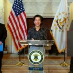 GOV. GINA M. RAIMONDO at a daily COVID-19 news briefing at the State House last week. / COURTESY CAPITOL TV