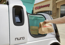 CVS HEALTH announced that it will partner with Silicon Valley robotics company Nuro on self-driving vehicle deliveries of medicines and other products to customers near a Houston-area store. / COURTESY NURO/NATHAN LINDSTROM VIA AP