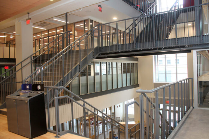 BREAKTHROUGH RENOVATION: The new three-story staircase required breaking through three levels of the building, which will help with wayfinding, orienting visitors to all the major-service areas and connecting the library's two buildings. / COURTESY PROVIDENCE PUBLIC LIBRARY
