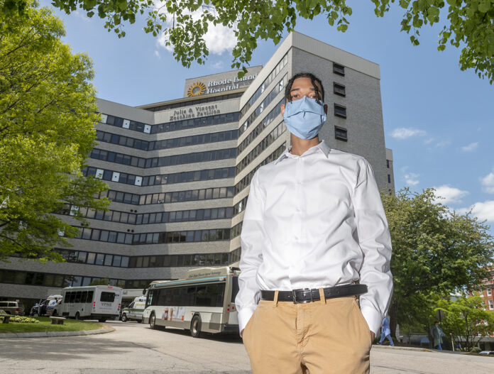 DETERMINED: Community College of Rhode Island graduate David Mota is interviewing for a position as a vascular intervention radiographer at Rhode Island Hospital. / PBN PHOTO/MICHAEL SALERNO
