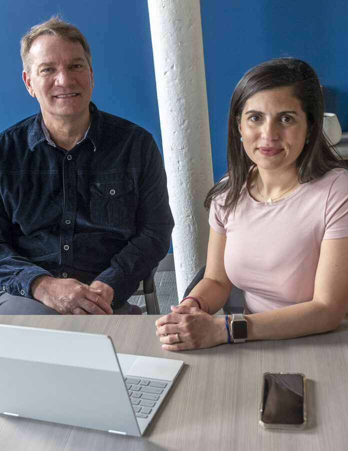 NO STING: Beeline Loans Inc. co-owners Nicholas Liuzza, CEO, and Jessica Kennedy, general counselor, aim to simplify the home mortgage process by allowing people to complete it online. / PBN PHOTO/MICHAEL SALERNO