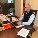 TERRY SOBOLEWSKI, president of National Grid Rhode Island, works from home during the coronavirus pandemic. / COURTESY TERRY SOBOLEWSKI