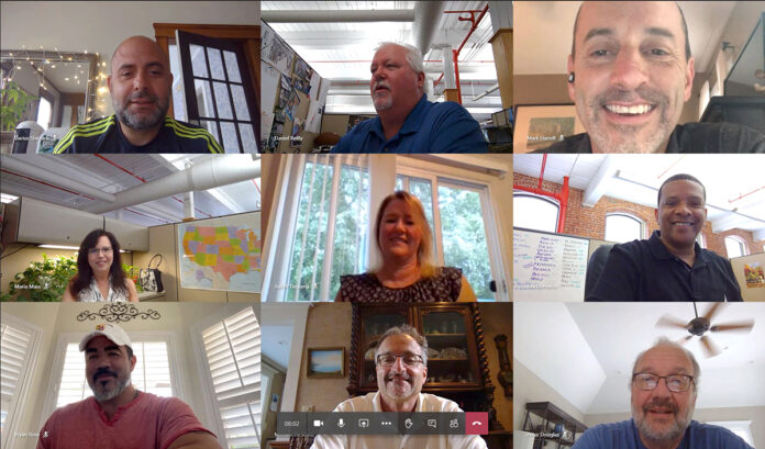 IN A BUNCH: Cooley Group's sales and customer service team gather virtually to collaborate on a new marketopportunity. / COURTESY COOLEY GROUP