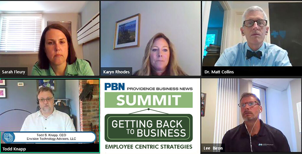 PANELISTS participating in Providence Business News' virtual summit on June 4 address the complications of returning to the workplace as the COVID-19 quarantine eases.
