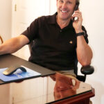 PHONING FROM HOME: Cooley CEO and President Daniel Dwight works from his home in Massachusetts. / COURTESY COOLEY GROUP