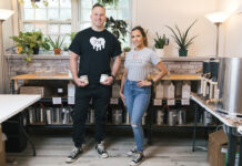 SOLID LAUNCH: The Perfect Match Shop owners Justin Skory and ­Cierra Fasulo have sold about 10,000 candles since opening the Warwick business in March. / PBN PHOTO/RUPERT WHITELEY