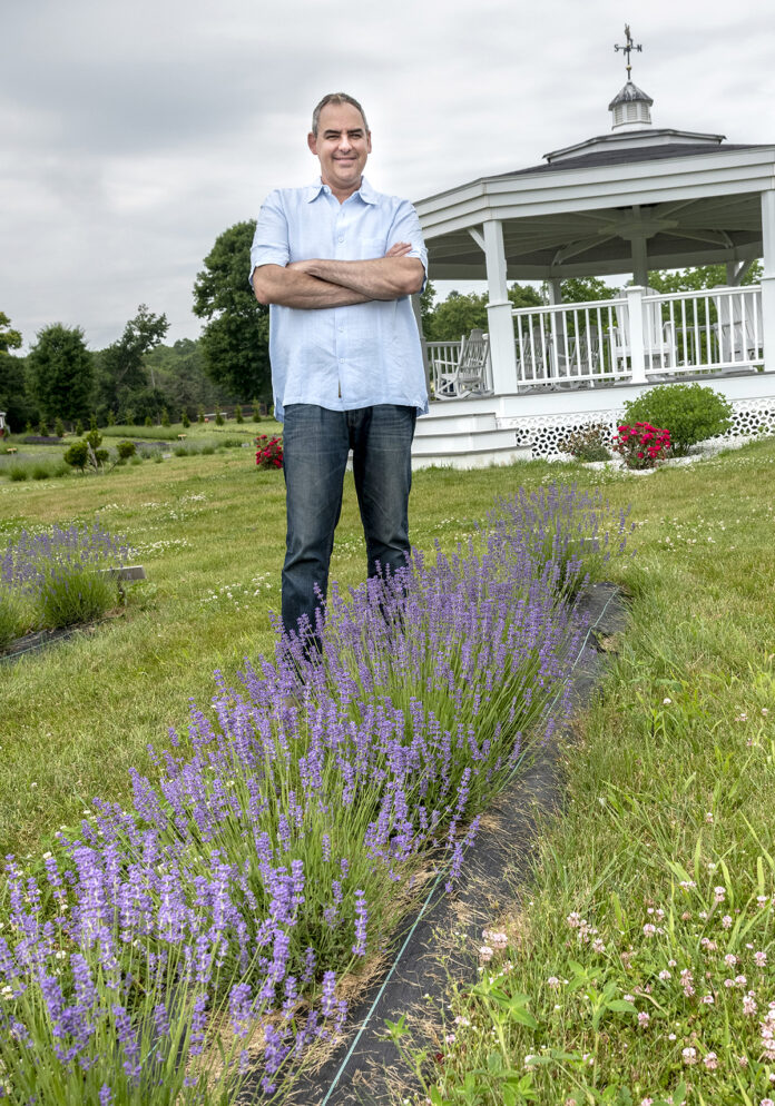 "MULTIPURPOSE: Lavender Waves Farm owner Henry Cabrera thought ""out of the box"" to develop a plot of land in South Kingstown into the farm, which can host overnight guests, as well as weddings, family gatherings and corporate events. / PBN PHOTO/MICHAEL SALERNO"