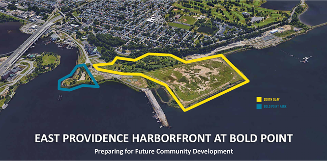THE SOUTH QUAY Marine Terminal in East Providence, at right, will receive up to $15 million in Rebuild Rhode Island tax credits to support development of facilities for offshore wind projects. / COURTESY RI WATERFRONT ENTERPRISES LLC