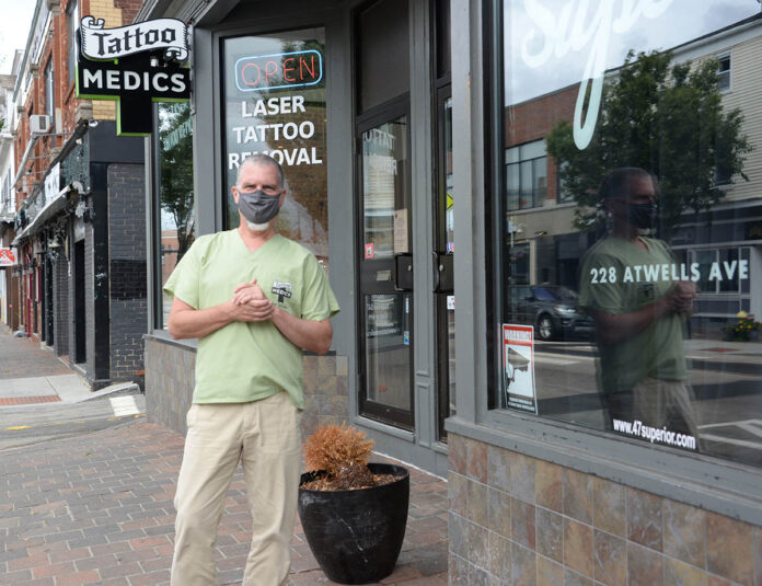 IN DEMAND: Dr. Richard Rosol, owner of TattooMedics Inc. in Providence, says his tattoo removal business has never been busier since reopening after elective surgeries were allowed to resume in Rhode Island amid the COVID-19 pandemic.   / PBN PHOTO/ELIZABETH GRAHAM