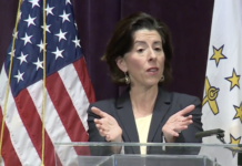 GOV. GINA M. RAIMONDO announced Wednesday that starting Friday, bars at restaurants must shut down by 11 p.m. / COURTESY CAPITOL TV