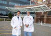FIRST TIME: Dr. Nabil Toubia, left, gastroenterologist, and Dr. Abdul Saied Calvino, surgical oncologist, recently performed an innovative surgical procedure, to help correct blockage of the digestive system that can occur in patients with advanced duodenal cancer. / PBN PHOTO/MICHAEL SALERNO