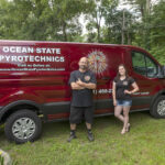 """RISK AVERSE: John Ruggieri, owner of Ocean State PyroTechnics Inc. in Hopkinton, with Juliana Lima, director of operations. Ruggieri says the business has attained an """"impeccable"""" safety record in its 17 years of operation due to strict rules imposed on top of federal and state regulations. / PBN PHOTO/MICHAEL SALERNO"""