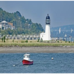 THE PRUDENCE ISLAND LIGHT, the oldest lighthouse in Rhode Island, is being offered for a sale or transfer by the U.S. government. / PHOTO COURTESY U.S. GENERAL SERVICES ADMINISTRATION/LIGHTHOUSE FRIENDS
