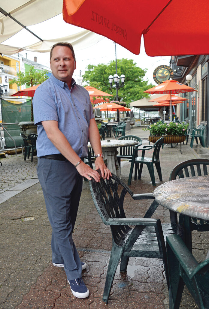 UNEXPECTED: Rick Simone, executive director of the Federal Hill Commerce Association, says restaurants at DePasquale Square in Providence were caught by surprise by the activist group PROVX's protest on Aug. 24. / PBN FILE PHOTO/ELIZABETH GRAHAM