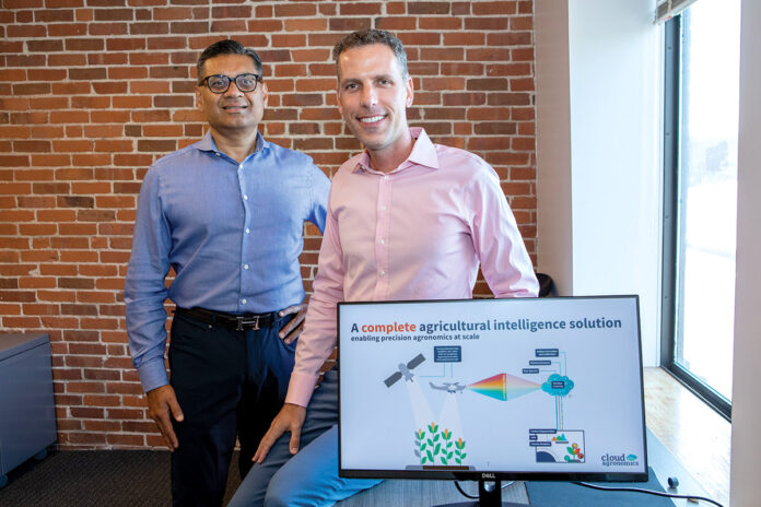 FARMER'S ALMANAC: From left, Cloud Agronomics Executive Chairman Jaymin Patel and CEO Mark Tracy are helping provide farmers data-driven methods to bring farming into the 21st century. / PBN PHOTO/KATE WHITNEY LUCEY