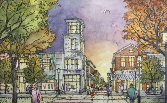 THE MARSHALL PROPERTIES plan for redeveloping Metacomet Golf Club would include retail, restaurants and townhouses, as well as a supermarket and homes. This is a rendering of the retail area. / COURTESY MARSHALL PROPERTIES