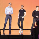 THE ORIGINALS: Airbnb co-founder and Chief Product Officer Joe Gebbia, center, with co-founder and Chief Technology Officer Nathan Blecharczyk, left, and co-founder and CEO Brian Chesky at an Airbnb event in 2016. / COURTESY AIRBNB