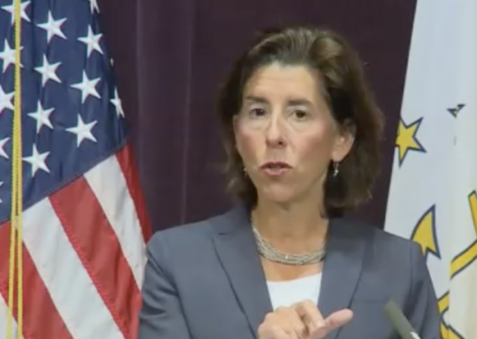 GOV. GINA M. Raimondo announced Tuesday that Rhode Island has used all of its $1.25 billion in CARES Act funds. / COURTESY R.I. CAPITOL TV