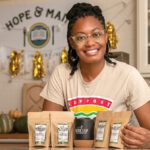 MIXING IT UP: Amber Jackson creates her own blends of loose-leaf tea and sells them at The Black Leaf Tea & Culture Shop, which she launched in 2019 using her own money. / PBN PHOTO/MICHAEL SALERNO