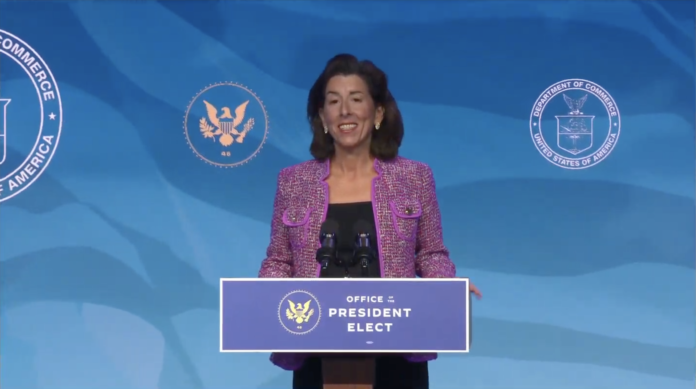 GOV. GINA M. RAIMONDO is introduced as President Joe Biden's commerce secretary nominee in a screenshot of the event earlier this month.