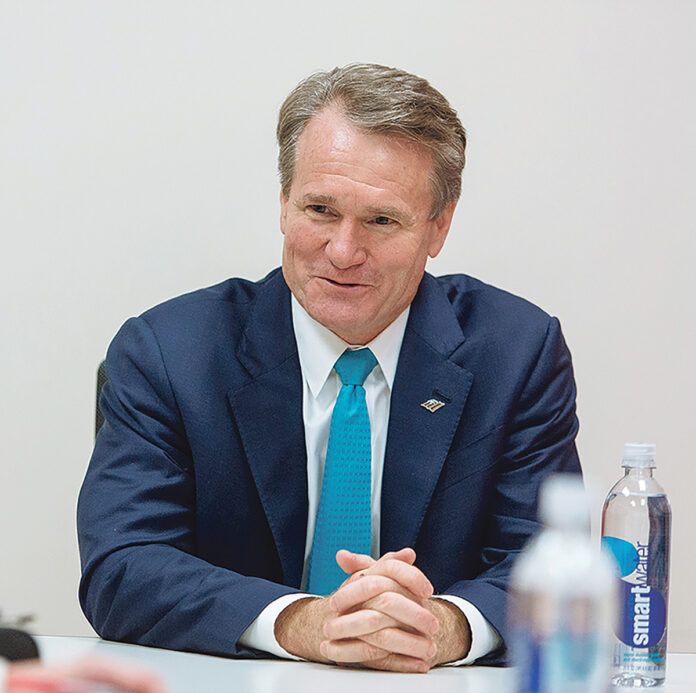 MAIN ATTRACTION: Bank of America Corp. Chairman and CEO Brian Moynihan will be the keynote speaker at the Northern Rhode Island Chamber of Commerce 30th Anniversary Celebration on Feb. 10.  / PBN FILE PHOTO/RUPERT WHITELEY